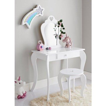 Nuovo splendido ed Elegante Amelia Vanity Set con Sgabello e Specchio Ideale per cameretta
