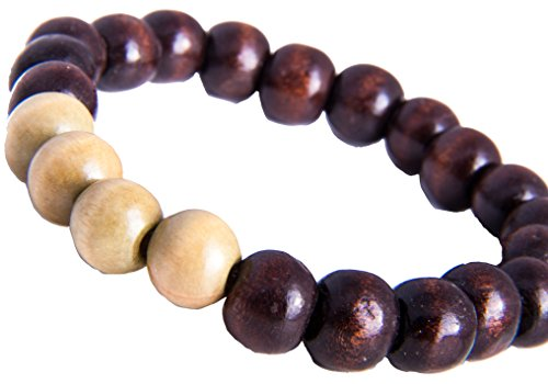 Shamballa Armband Tibet Nepal Buddha Glücksbringer Gummizugarmband Holz Perlen Schwarz Hell Braun SH25 - Nepal Gold Armbänder