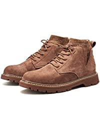 Hy Botas Martins para Hombre, Zapatos de tacón Plano, Calcetines y Botas de Gamuza