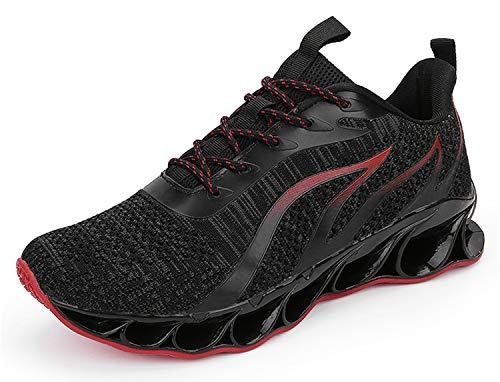 WateLves Herren Laufschuhe Fitness stra?enlaufschuhe Sneaker Sportschuhe atmungsaktiv Rutschfeste Mode Freizeitschuhe(Schwarz rot,44) Mode Sneakers Schuhe