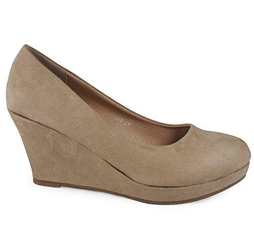 Loudlook Nouveau Ladies Femmes Faux Suede Mid Heel Platform Wedge Pompes Cour Travail Chaussures Taille 3-8 Beige