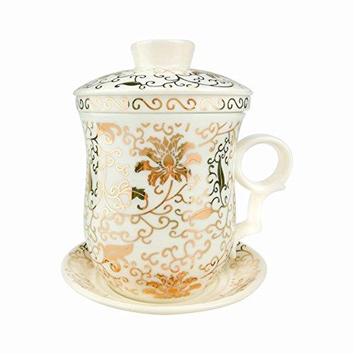 Céramique blanche en porcelaine chinoise de fleur Tasse à thé avec couvercle Filtre Et Soucoupe