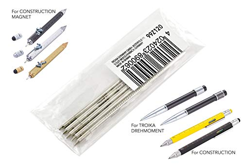 TROIKA Kugelschreiber-Mine klein - 99Z120 - 5er Set - D1 - Strichstärke M - 1mm - schwarz - Messing, für Construction PIP20, PIP22, LAS01