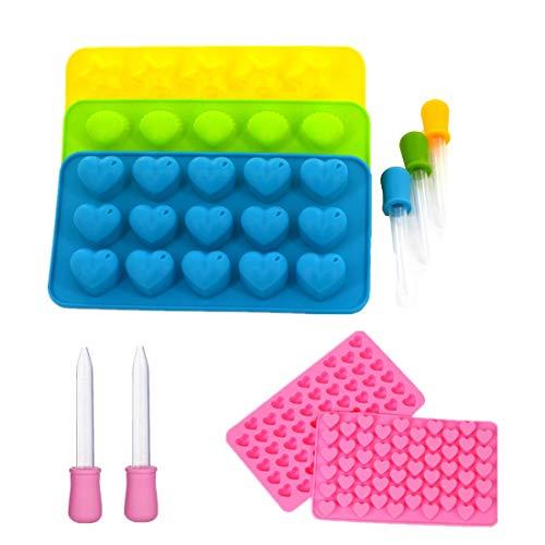 Bar Soap Tray Form (Silikon-Schokoladenformen, Eiswürfelform für weiche Süßigkeiten-Geleekerzen, 5 Stück mit Tropfen (Herzen, Sterne, Muscheln, rosa Herz))