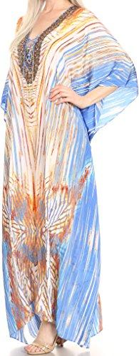 Sakkas Georgettina Robe Caftan Robe de Plage Fluente Strass Col en V Longue Blanc / Turquoise