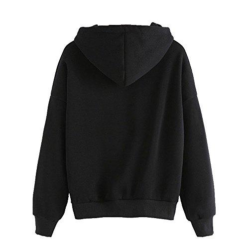 YuanYan Sweat-shirt Col Rond Imprimé Alien Manche Longue Manteau Top Manteau de Hoodie … Noir2