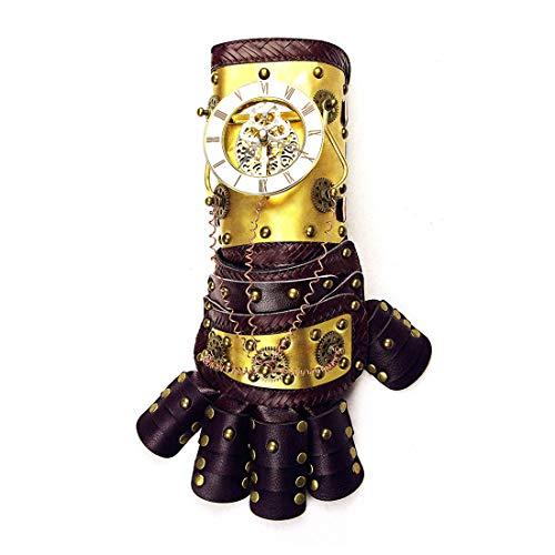 KERVINFENDRIYUN YY4 War Gauntlet Gold Arm Handschuh mit Horologe Getriebe Cosplay Kostüm Steampunk Requisiten Zubehör mit Geschenk-Box (Color : Gold)