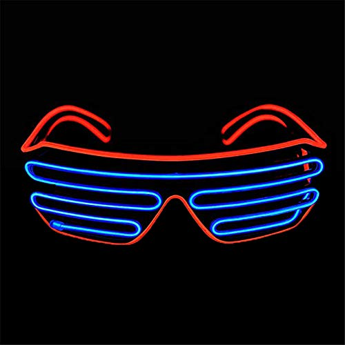 Mehrfarbiger Shutter EL Draht LED Brille Party - Neon Rave Brille blinkt lustige Brille für Weihnachten Halloween Wild Party Crazy Partys Red+ice Blue