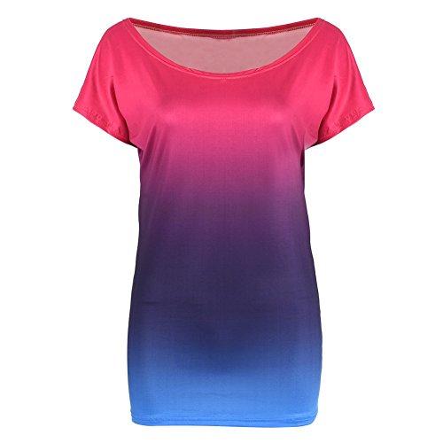 Moresave - Chemisier - Body chemise - Femme Rose Red + Blue