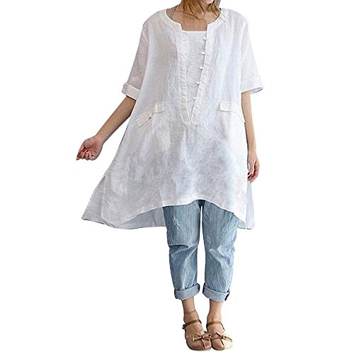 OverDose Damen Casual Übergröße Unregelmäßige Mode Lose Leinen Kurzarm Shirt Vintage Bluse Fest Hemd Lang Tank Tops T-Shirt Freizeit Oberteile Tees (EU-46/CN-2XL, C-Weiß)