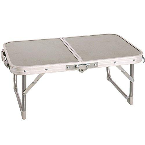 Bakaji tavolino vassoio da campeggio spiaggia pieghevole richiudibile a valigetta con maniglia in legno di frassino e metallo dimensioni 56 x 34 x 22 cm
