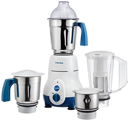Philips Hl1645 750-watt 3 Jar Super Silent Vertical Mixer Grinder and Blender Jar with Fruit Filter, Blue  available at amazon for Rs.4540