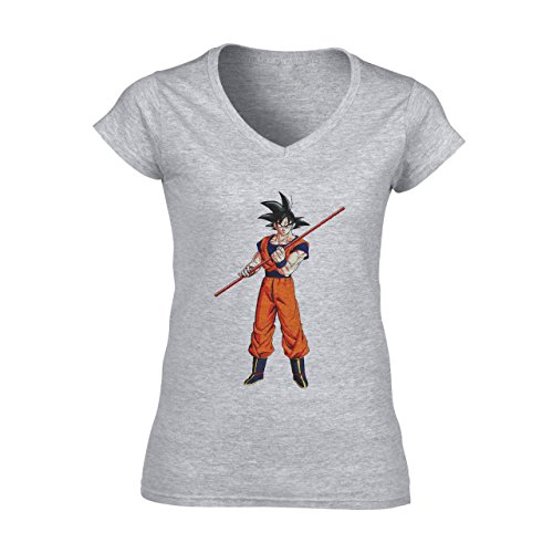 Dragon Ball Z Goku Ready To Fight with A Stick Damen V-Neck T-Shirt Grau