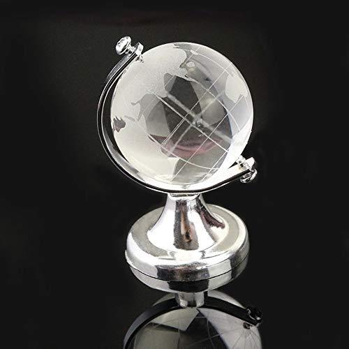 Decorazione in vetro di cristallo, motivo: mappamondo, girevole, piccolo ornamento, centrotavola, decorazione per bagno e camera