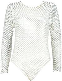 350047c18436 Click Selfie® New Ladies Plus Size Long Sleeve Fishnet Mesh Slim Fit  Leotard Bodysuit 8