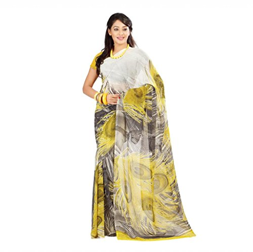 Shaktideal Dailywear light weight printed sarees cream and green