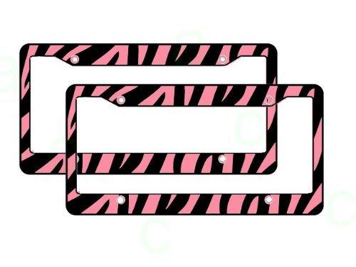 (Zebra Safari Animal KFZ Nummernschild Rahmen Kunststoff–Pink und Schwarz–Paar von la Auto Gear)