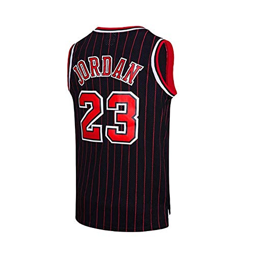 HUWAI Basketball Chicago Bulls Trikot NBA Superstar Michael Jordan 23 Atmungsaktives Streifentop C-XXL -