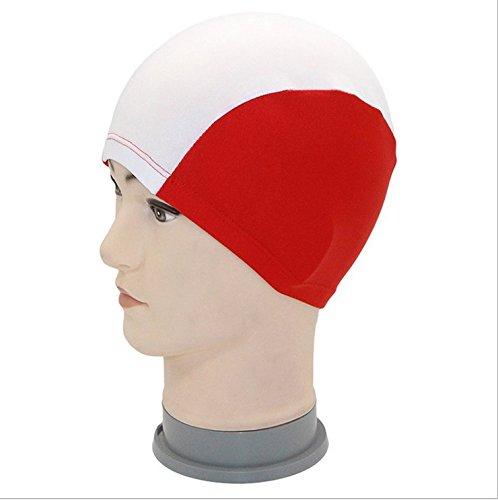 yeah67886Erwachsene Stoff atmungsaktiv Schwimmen Hut Badekappe (rot + weiß)