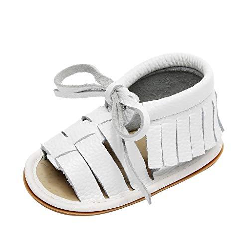 Dtuta Geschenke Kinder Jungen Und MäDchen Mode Quasten Riemen Offene Spitze Einfarbig Leder Kleinkind Schuhe rutschfeste Sandalen Hausschuhe Strandschuhe