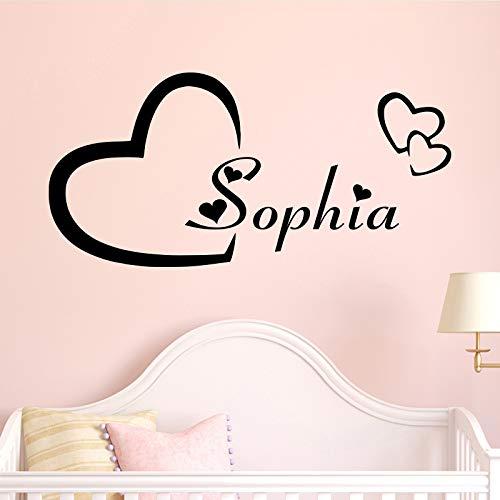 Personalizado moderno Nombre Etiqueta de la pared Murales para niños Decoración de la habitación para niños Habitación de la pared Tatuajes de pared Negro M 28cm X 13cm