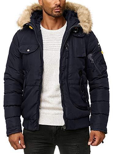 Blackrock Herren Winter-Jacke - Gefütterte warme Herrenjacke - Slim-Fit -  mit Kapuze und abnehmbarem Kunstfell - 2 - Navy - S 79e326fdb4