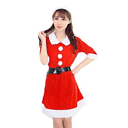 New Santa Anzug Erwachsene Cosplay Sexy Luxus Plüsch Puppe Kragen Dessous Langer Rock Bühne Leistung Kleidung Für Weihnachten/Karneval Halloween ()