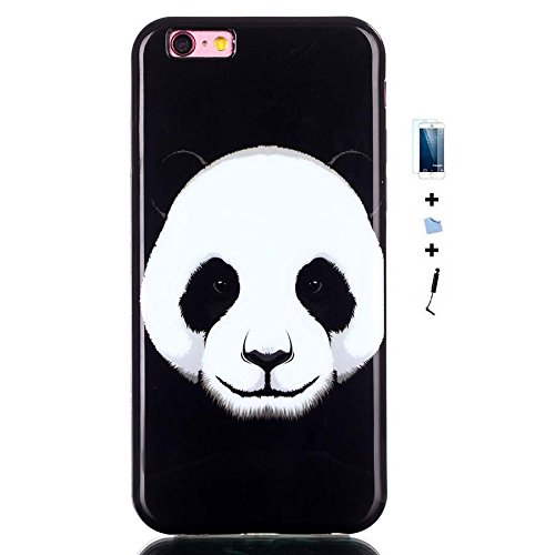 TIODIO® 4 en 1 Pour Apple iPhone 6S Plus/iPhone 6 Plus, TPU Silicone Shell Housse Coque Étui Case Cover, Stylus et Film protecteur inclus, Brille dans le noir, B30 B14