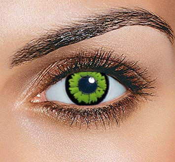 Farbige Kontaktlinsen HEROES OF COSPLAY Farblinsen Motivlinsen Farbige Kontaktlinsen für Cosplay, Halloween, Fasching GUT DECKEND BEQUEM zu tragen (Green Monster)