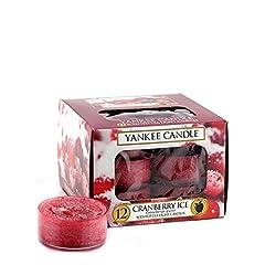 Idea Regalo - Yankee Candle Tea Light Candele Profumate 12 Pezzi Cranberry Ice, Cera, Rosso, 8.8x8.5x6.3 cm
