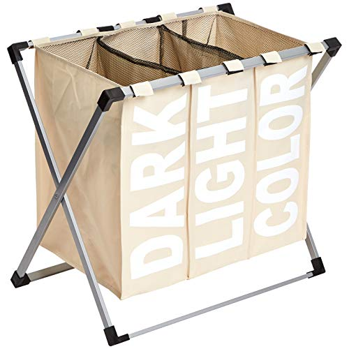 Amazonbasics - cesto portabiancheria a 3 scomparti, beige