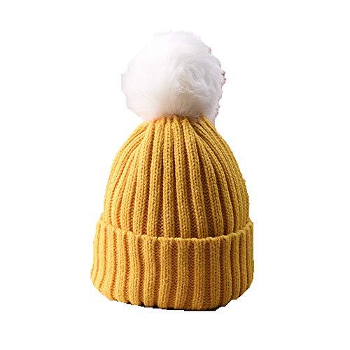 Huichao Bonnet Enfant 5 Couleurs, Bonnet en Tricot d'automne et d'hiver, Bonnet Chaud,Yellow