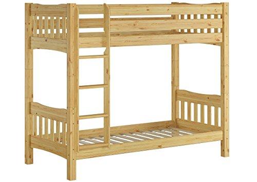 Erst-Holz® 60.15-09 Ni100 Etagenbett hohes Bett Kiefer Massivholz 90x200 cm mit 2 Rollroste (Etagenbett Massivholz)