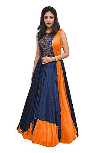 Aracruz Women's Clothing Ethnic Gowns For Party Wear Designer Orange Blue Banglori...
