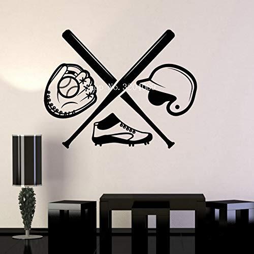 yiyiyaya Baseball Jungen Zimmer sportschläger Sport Fan Kunst wandaufkleber Vinyl wandbilder Selbstklebende Dekoration für Jungen Zimmer Geschenk 72x56 cm