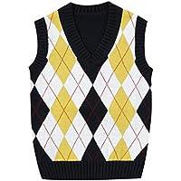 GKKXUE Jersey de Primavera y otoño para niños para niños con Cuello en v (Color : Amarillo, Tamaño : 130cm)
