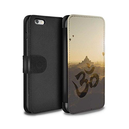 Stuff4 Coque/Etui/Housse Cuir PU Case/Cover pour Apple iPhone 5/5S / Bouddha de Pierre Design / Paix Intérieure Collection Temple OM