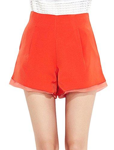 sourcingmap Femme Taille Haute à caissons Ourlet Poches Coupe Clepsydre Short Orange