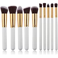 leisial 10pcs Professional Pennello Make Up Set di pennelli Pennello Cosmetico Set ombretto Make Up Set di pennelli, Bianco e Oro (A)