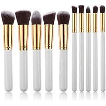 leisial 10pcs Professional Brocha Pinceles de maquillaje Set–Juego de pinceles sombra Pinceles de maquillaje Set, Color blanco y dorado