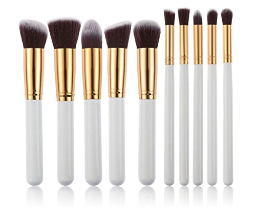 (Leisial 10PCS Professional Pinsel Make-up Pinsel Set Kosmetik Pinsel Set Lidschatten Make-up Pinsel Set,Weiß und Gold)