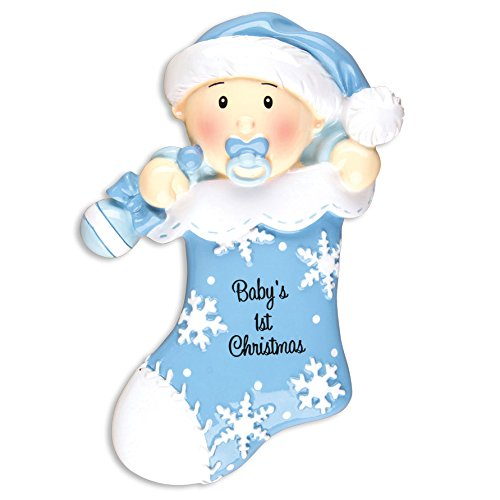 (Personalisierte Christmas Ornaments Baby 's first-baby 's First stocking-blue - DO-IT-YOURSELF Kit)