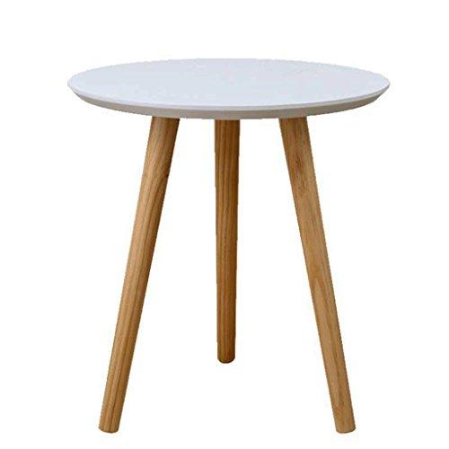 Beistelltische Kleiner runder Tisch EIN Paar Ecken des Sofas Einige Couchtische Balkonbett kleine Tische Massivholztische Verdickte Tischplatte (Color : Weiß, Size : A.40 * 42 * 3.5CM) -