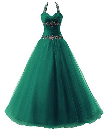 Zorayi Damen Lange Halfter Kristall Tüll A-Linie Abendkleid Prom Ballkleid Partykleider Smaragd Größe 48 (Smaragd Partykleid Grün)