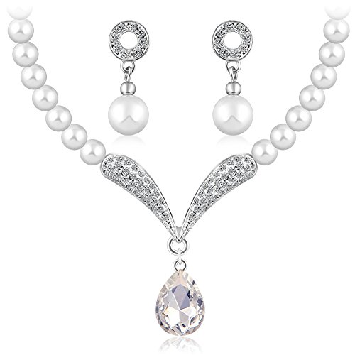 Shining Diva Fashion Crystal Party Wear Pearl Necklace Set For Women / Jewellery Set with Earrings for Women & Girls