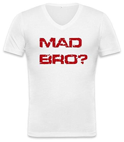 U MAD BRO ? Red Logo Unisex V-neck T-shirt XX-Large