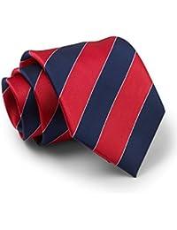 Savile Row Men's Red Navy White Regimental Stripe Silk Tie