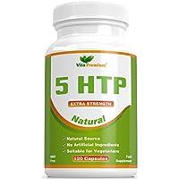 5-HTP Natural de 100 mg, 120 Cápsulas Vegetarianas con Suministro Para 4 Meses, Libres de Transgénicos y Que Ayudan al Sueño y a la Regulación de Melatonina, de Vita Premium