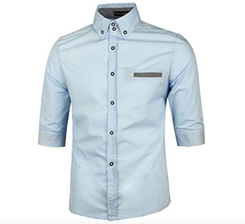 Hommes Chic Chemisette Habillee 1/2 manches chemise d'affaires occasionnel couleur contraste Bleu