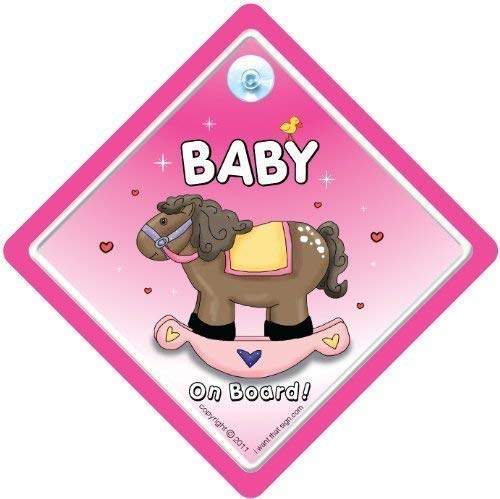 Bebé cartel con ventosa para coche, diseño con texto en inglés de peluche de coche, rosa de caballo...